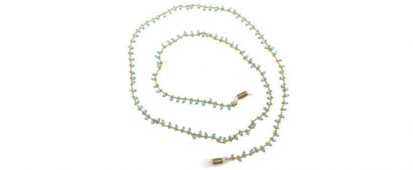 Boho Beach Sunny Necklace - Colourful Stones Green Chain